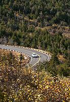 Car traveling road to the peak of Caddilac Mountain, Acadia National Park, Maine, USA