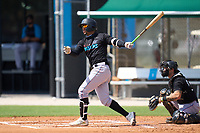 Miami Marlins Victor Victor Mesa (32) bats during a Minor League Spring Training camp day on April 28, 2021 at Roger Dean Chevrolet Stadium Complex in Jupiter, Fla.  (Mike Janes/Four Seam Images)