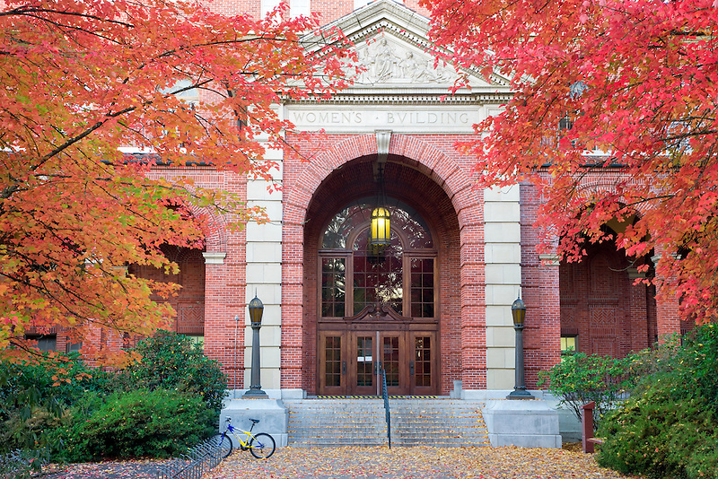 Womens Building with fall color. Oregon State University.