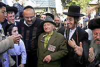 UKRAINE, Uman, 2008/09..For one week a year, tens of thousands of Hasidic Jews gathered in the quiet Ukrainian city of Uman to celebrate Rosh Hashanah, Jewish New Year. 90 year old Red Army veteran, I. Davidovich Vigbopovach is talking about his struggle in the Second World War (WWII). .© Cyril Horiszny / EST&OST