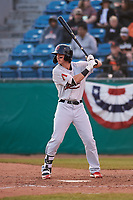 Visalia Rawhide left fielder Ryan Grotjohn (12) during a California League game against the San Jose Giants on April 13, 2019 at San Jose Municipal Stadium in San Jose, California. Visalia defeated San Jose 4-2. (Zachary Lucy/Four Seam Images)