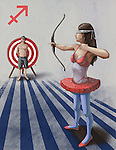 Illustrative image of woman targeting arrow at man representing Sagittarius sign
