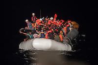 Sea Watch-2.<br /> Die Sea Watch-2 bei ihrer 13. SAR-Mission vor der libyschen Kueste.<br /> Im Bild: Ein in der Nacht gesichtetes Schlauchboot mit Gefluechteten wird von der Sea Watch-Crew mit Schwimmwesten versorgt und die Menschen wenig spaeter geborgen. Das Schlauchboot ist mit ca. 160 Menschen total ueberfuellt.<br /> 22.10.2016, Mediterranean Sea<br /> Copyright: Christian-Ditsch.de<br /> [Inhaltsveraendernde Manipulation des Fotos nur nach ausdruecklicher Genehmigung des Fotografen. Vereinbarungen ueber Abtretung von Persoenlichkeitsrechten/Model Release der abgebildeten Person/Personen liegen nicht vor. NO MODEL RELEASE! Nur fuer Redaktionelle Zwecke. Don't publish without copyright Christian-Ditsch.de, Veroeffentlichung nur mit Fotografennennung, sowie gegen Honorar, MwSt. und Beleg. Konto: I N G - D i B a, IBAN DE58500105175400192269, BIC INGDDEFFXXX, Kontakt: post@christian-ditsch.de<br /> Bei der Bearbeitung der Dateiinformationen darf die Urheberkennzeichnung in den EXIF- und  IPTC-Daten nicht entfernt werden, diese sind in digitalen Medien nach §95c UrhG rechtlich geschuetzt. Der Urhebervermerk wird gemaess §13 UrhG verlangt.]