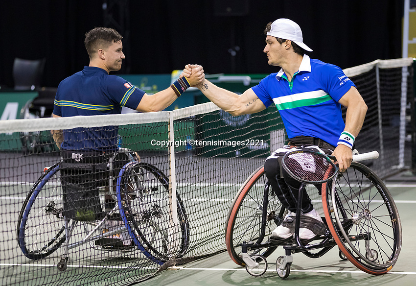 Rotterdam, The Netherlands, 6 march  2021, ABNAMRO World Tennis Tournament, Ahoy,  <br /> Semi final wheelchair: Gustavo Fernandez (ARG) Gordon Reid (GBR). Photo: www.tennisimages.com/