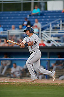 Mahoning Valley Scrappers designated hitter Ulysses Cantu (8) follows through on a swing during a game against the Batavia Muckdogs on August 16, 2017 at Dwyer Stadium in Batavia, New York.  Batavia defeated Mahoning Valley 10-6.  (Mike Janes/Four Seam Images)