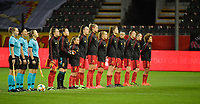 Belgian team  pictured before a female soccer game between the national teams of Belgium , called the Red Flames and Switzerland on the 8 th and last matchday in group H for the qualification for the Womens EURO 2022 in England , on Tuesday 1 th of December 2020  in Leuven , Belgium . PHOTO SPORTPIX.BE   SPP   DIRK VUYLSTEKE
