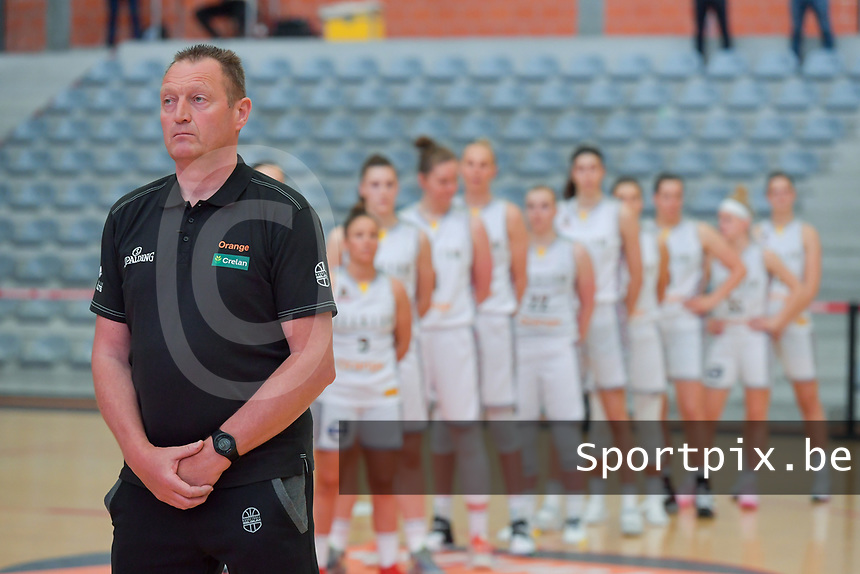 Philip Mestdagh headcoach of Belgium pictured before a basketball game between the national teams of Belgium , called the Belgian Cats , and Serbia on Friday 28 th of May 2021 in Kortrijk , Belgium . PHOTO SPORTPIX.BE | SPP | STIJN AUDOOREN