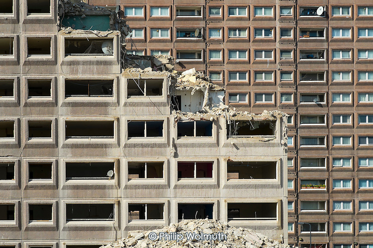 Demolition of Fielding  House, an 18 story block on South Kilburn Estate, Brent, by Network Housing as part of a £600 million estate regeneration programme.