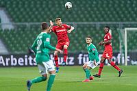 18th May 2020, WESERSTADION, Bremen, Germany; Bundesliga football, Werder Bremen versus Bayer Leverkusen;  Mitchell Weiser Leverkusen  wins the header in midfield from  Milot Rashica Werder Bremen