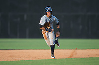 Wilkerman Garcia (28) of the Pulaski Yankees takes off for third base during the game against the Danville Braves at American Legion Post 325 Field on July 31, 2016 in Danville, Virginia.  The Yankees defeated the Braves 8-3.  (Brian Westerholt/Four Seam Images)