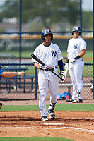 GCL Yankees East center fielder Robert Javier (19) at bat as center fielder Raymundo Moreno (13) waits on deck during the  first game of a doubleheader against the GCL Blue Jays on July 24, 2017 at the Yankees Minor League Complex in Tampa, Florida.  GCL Blue Jays defeated the GCL Yankees East 6-3 in a game that originally started on July 8th.  (Mike Janes/Four Seam Images)