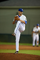 Bluefield Blue Jays relief pitcher Sean Rackoski (21) delivers a pitch during a game against the Bristol Pirates on July 26, 2018 at Bowen Field in Bluefield, Virginia.  Bristol defeated Bluefield 7-6.  (Mike Janes/Four Seam Images)