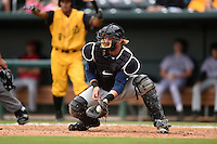 Pensacola Blue Wahoos catcher Bryan Anderson (22) takes a throw during a game against the Jacksonville Suns on April 20, 2014 at Bragan Field in Jacksonville, Florida.  Jacksonville defeated Pensacola 5-4.  (Mike Janes/Four Seam Images)