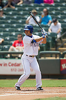 Round Rock Express designated hitter Kensuke Tanaka #8 at bat during the Pacific Coast League baseball game against the Memphis Redbirds on April 27, 2014 at the Dell Diamond in Round Rock, Texas. The Express defeated the Redbirds 6-2. (Andrew Woolley/Four Seam Images)