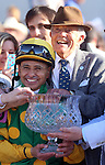 March 29, 2014: on Louisiana Derby Day at the Fairgrounds Race Course in New Orleans, LA. Mary M. Meek/ESW/CSM; Mike Smith and Cot Campbell, owner of Palace Malice the New Orleans Handicap winner.