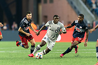 FOXBOROUGH, MA - JULY 25: Sunusi Ibrahim #22 of CF Montreal on the attack during a game between CF Montreal and New England Revolution at Gillette Stadium on July 25, 2021 in Foxborough, Massachusetts.