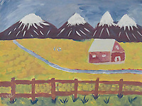 """MY MONTANA"" as viewed from my primitive and childlike form of impressionistic imagination. Snow capped mountains. A red barn sitting in a wheat field with a stream running through it."