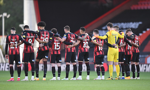 31st October 2020; Vitality Stadium, Bournemouth, Dorset, England; English Football League Championship Football, Bournemouth Athletic versus Derby County; Bournemouth observe a minutes silence at the start of the match