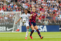 EAST HARTFORD, CT - JULY 5: Nancy Antonio #16 of Mexico plays the ball under pressure from Kristie Mewis #6 of the United States during a game between Mexico and USWNT at Rentschler Field on July 5, 2021 in East Hartford, Connecticut.