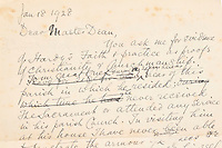 BNPS.co.uk (01202 558833)<br /> Pic: DukesAuctionsBNPS<br /> <br /> Pictured: The letter.<br /> <br /> A letter questioning the Christianity of author Thomas Hardy that sheds light on his controversial church burial has emerged for sale 93 years later.<br /> <br /> The Dean of Westminster Abbey wrote to Hardy's local vicar looking for reassurance that the literary great could be buried there after opposition about his faith.<br /> <br /> At a time when everyone went to church, Hardy was not considered a 'churchman' and there was no Christian themes in his writing.