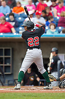 Great Lakes Loons second baseman Jesmuel Valentin #22 bats during a game against the Quad Cities River Bandits at Modern Woodmen Park on April 29, 2013 in Davenport, Iowa. (Brace Hemmelgarn/Four Seam Images)