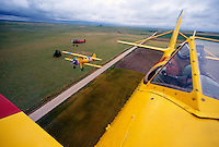 Aerial view of vintage Stearman biplanes in flight.