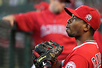 Alberto Callaspo #6 of the Los Angeles Angels before game against the Cleveland Indians at Angel Stadium in Anaheim,California on April 11, 2011. Photo by Larry Goren/Four Seam Images