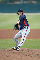 Rome Braves starting pitcher Trey Riley (28) in action against the Kannapolis Intimidators at Kannapolis Intimidators Stadium on April 7, 2019 in Kannapolis, North Carolina. The Intimidators defeated the Braves 2-1. (Brian Westerholt/Four Seam Images)