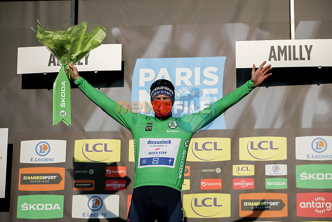 Sam Bennett (IRL) Deceuninck-Quick Step retains the points Green Jersey at the end of Stage 2 of Paris-Nice 2021, running 188km from Oinville-sur-Montcient to Amilly, France. 8th March 2021.<br /> Picture: ASO/Fabien Boukla | Cyclefile<br /> <br /> All photos usage must carry mandatory copyright credit (© Cyclefile | ASO/Fabien Boukla)