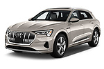2019 Audi e-tron Prestige 5 Door SUV angular front stock photos of front three quarter view
