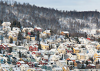 The city of Tromso, still with many wood built houses, in northern Norway