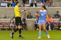 Chicago, IL - Saturday Sept. 24, 2016: Referee Matthew Franz, Sofia Huerta during a regular season National Women's Soccer League (NWSL) match between the Chicago Red Stars and the Washington Spirit at Toyota Park.