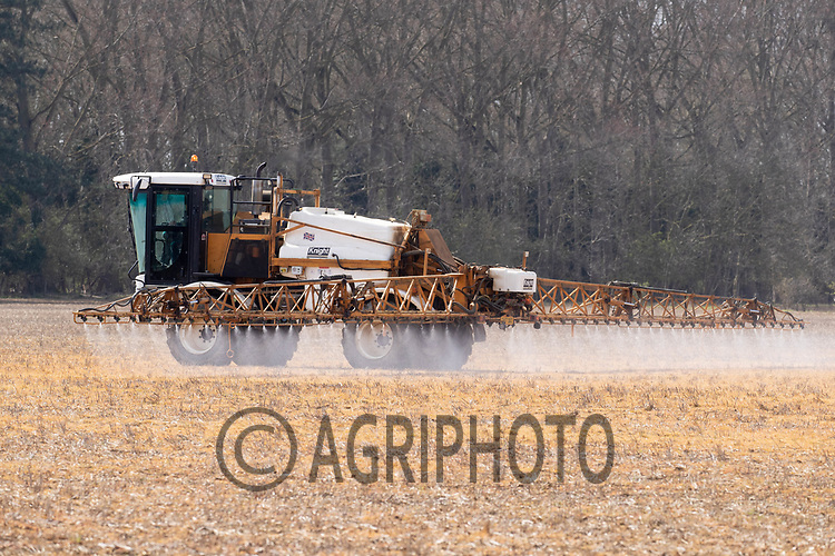 30-3-2021 Spraying over Wintered stubbles <br /> ©Tim Scrivener Photographer 07850 303986<br />      ....Covering Agriculture In The UK....