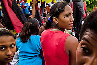A young Nicaraguan girl holds the Sandinista flag during the pre-election meeting in San Juan del Sur, Nicaragua, 16 October 2004. The Sandinista National Liberation Front (in Spanish: Frente Sandinista de Liberación Nacional, or FSLN) is a socialist political party in Nicaragua. The FSLN is one of Nicaragua's two leading parties. Sandinistas took their name from Augusto César Sandino (1895-1934), the historical leader of Nicaragua's nationalist rebellion against the US occupation of the country in the 1930s. In 1979 the FSLN overthrew the Somoza dynasty and ruled Nicaragua from 1979 to 1990. They left power in 1990 after free elections. In 2006, the former President Daniel Ortega, the leader of the party, was re-elected President of Nicaragua.
