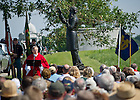 June 22, 2013; Notre Dame President Rev. John Jenkins, C.S.C. offers mass in honor of the 150th anniversary of the Battle of Gettysburg at the statue of former Notre Dame president Rev. William Corby, C.S.C. in Gettysburg National Military Park.<br /> <br /> Photo by Matt Cashore/University of Notre Dame