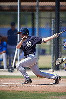 New York Yankees second baseman Nick Solak (29) follows through on a swing during a minor league Spring Training game against the Toronto Blue Jays on March 30, 2017 at the Englebert Complex in Dunedin, Florida.  (Mike Janes/Four Seam Images)