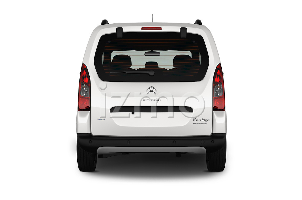 Straight rear view of 2016 Citroen BERLINGO-MULTISPACE XTR+ 5 Door Mini MPV Rear View  stock images