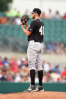 San Antonio Missions pitcher Jesse Hahn (40) looks in for the sign during a game against the Arkansas Travelers on May 24, 2014 at Dickey-Stephens Park in Little Rock, Arkansas.  Arkansas defeated San Antonio 4-2.  (Mike Janes/Four Seam Images)