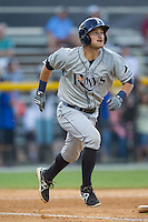 Nick Ciuffo (14) of the Princeton Rays starts down the first base line during the game against the Burlington Royals at Burlington Athletic Park on July 11, 2014 in Burlington, North Carolina.  The Rays defeated the Royals 5-3.  (Brian Westerholt/Four Seam Images)