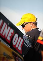 Apr. 29, 2011; Baytown, TX, USA: NHRA funny car driver Jeff Arend during qualifying for the Spring Nationals at Royal Purple Raceway. Mandatory Credit: Mark J. Rebilas-