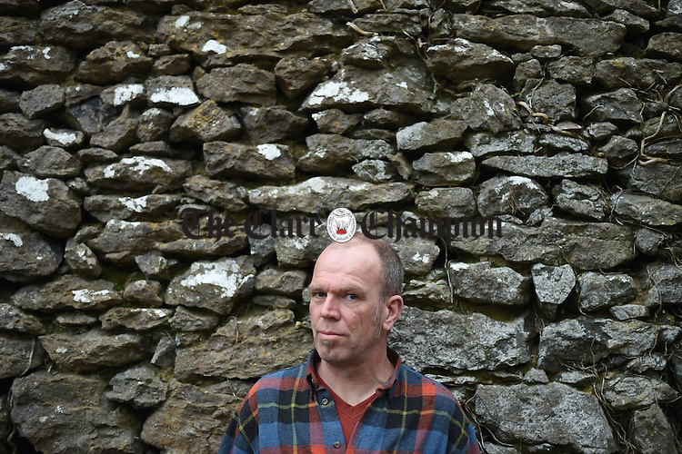 Markwin Kobus, a Dutch national but living in Bodyke, East Clare for the last 22 years who is just back from Calais where he worked for 10 days as a volunteer helping the refugees.  Photograph by John Kelly.
