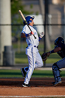 Dunedin Blue Jays Kevin Vicuna (3) is hit by a pitch during a Florida State League game against the Lakeland Flying Tigers on April 18, 2019 at Jack Russell Memorial Stadium in Clearwater, Florida.  Dunedin defeated Lakeland 6-2.  (Mike Janes/Four Seam Images)