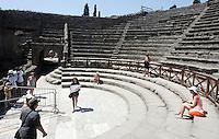 Una veduta del  Teatro Piccolo (Odeion) del sito archeologico di Pompei, nei pressi di Napoli.<br /> A view of the Odeion (Small Theater) at Pompeii's archeological roman site, near Naples. On background the Vesuvio.<br /> UPDATE IMAGES PRESS/Riccardo De Luca