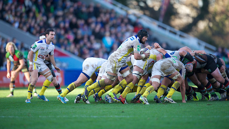 Fritz Lee of ASM Clermont Auvergne breaks from the base of the scrum during the Heineken Cup Round 5 match between Harlequins and ASM Clermont Auvergne at the Twickenham Stoop on Saturday 11th January 2014 (Photo by Rob Munro)