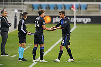 SAN JOSE, CA - OCTOBER 28: Chris Wondolowski #8 of the San Jose Earthquakes is subbed out for Cade Cowell #44 during a game between Real Salt Lake and San Jose Earthquakes at Earthquakes Stadium on October 28, 2020 in San Jose, California.
