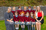 Kyna O'Sullivan teacher and Lucy O'Sullivan Principal with their Junior Infants in Knockanes NS Glenflesk on Wednesday (names to follow)