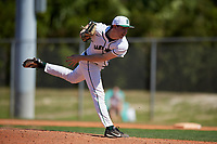 Dartmouth Big Green relief pitcher Michael Parsons (22) delivers a pitch during a game against the Villanova Wildcats on March 3, 2018 at North Charlotte Regional Park in Port Charlotte, Florida.  Dartmouth defeated Villanova 12-7.  (Mike Janes/Four Seam Images)