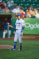 Daniel Padilla (43) of the Ogden Raptors bats against the Orem Owlz in Pioneer League action at Lindquist Field on June 21, 2017 in Ogden, Utah. The Owlz defeated the Raptors 16-5. This was Opening Night at home for the Raptors.  (Stephen Smith/Four Seam Images)