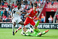 Sun 06 October 2013 Pictured:  Wilfried Bony tries to sneak a shot past Artur Boruc the Re: Barclays Premier League Southampton FC  v Swansea City FC  at St.Mary's Stadium, Southampton