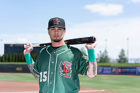 Great Lakes Loons infielder Jacob Amaya (15) poses for a photo before a Midwest League game against the Wisconsin Timber Rattlers at Dow Diamond on May 4, 2019 in Midland, Michigan. (Zachary Lucy/Four Seam Images)